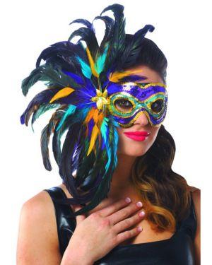 Mardi Gras Half Feather Mask
