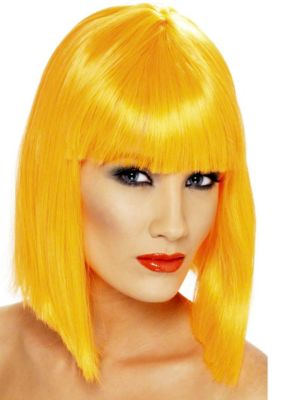 Neon Orange Glam Adult Wig