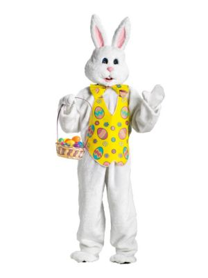 Deluxe Bunny Costume with Yellow Vest and Mascot Head for Adult