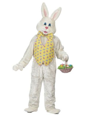 Plus Sized Adult Easter Bunny Costume with Yellow Vest