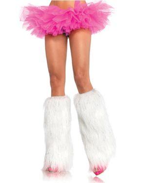 Women's Furry Lurex Legwarmers - White