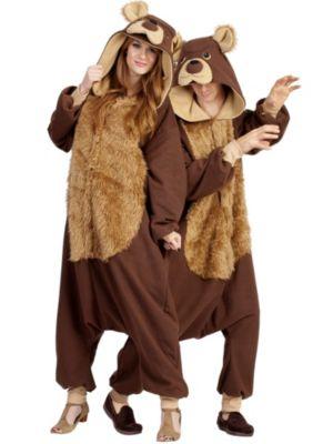 Adult Unisex Bailey Bear Hooded Animal jumpsuit