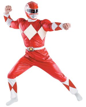 Red Power Ranger Chest Muscle XL Mens Costume