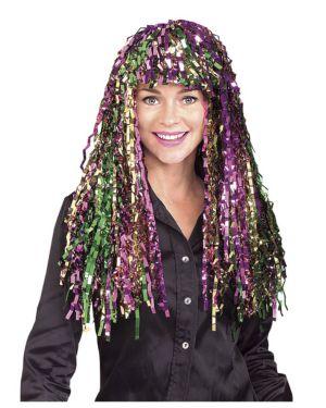 Long Multi Colored Mardi Gras Tinsel Wig