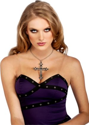 Gothic Cross Necklace with Blue Rhinestones