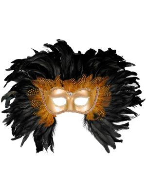 Gold and Black Deluxe Feather Mask