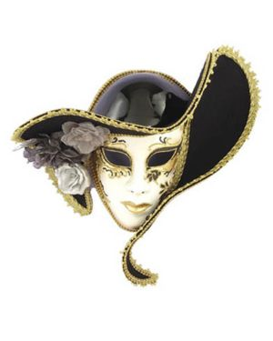 White Venetian Mask With Hat