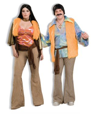 60s Babe Womens Plus Size Couple Costume