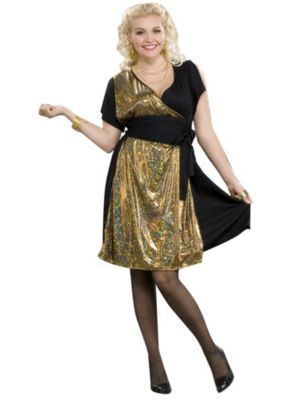 Plus Size Gold Disco Womens Costume