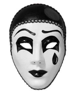 Black and White Pierrot Full Mask
