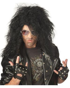 Men's Black Heavy Metal Rocker Wig