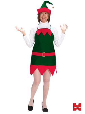 Adult Elf Holiday Costume (apron/hat)