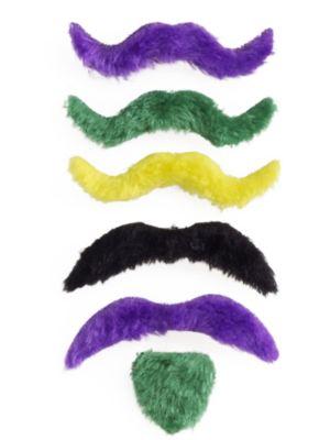 Mardi Gras Mustache Goatee Assortment
