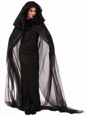 Adult Black Haunted Cape and Dress Costume
