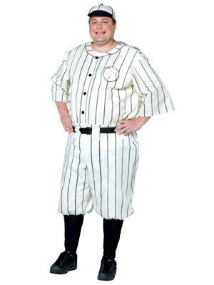 Plus Size Old Tyme Mens Baseball Costume