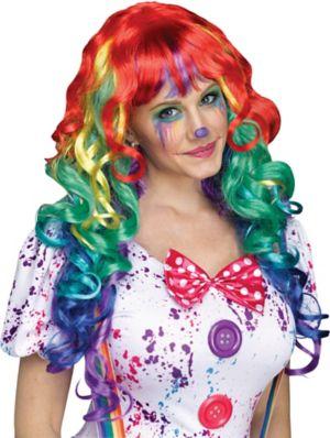 Women's Rainbow Clown Wig with Bangs
