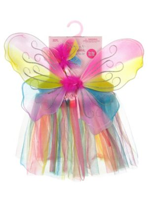 Girl's Rainbow Wing and Skirt Set