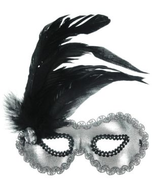 Women's Silver Mask With Feathers