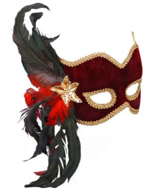Venetian Burgundy Velvet Feathered Mardi Gras Mask Adult