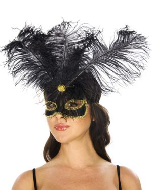Black and Gold Feather Mask