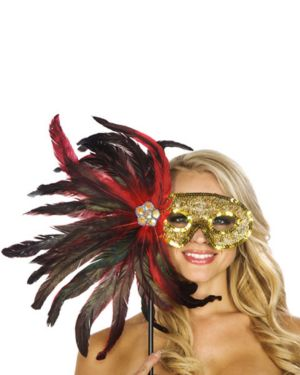 Red Wand Feather Mask