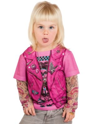 Toddler Pink Biker Girl Tee with Tattoo Sleeves Costume