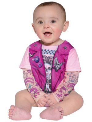 Toddler Pink Biker Romper with Tattoo Sleeves Costume