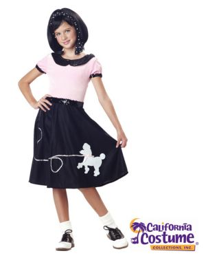 50s Hop with Poodle Skirt Costume for Girl