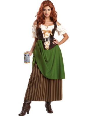 Adult Green and Brown Tavern Maiden Costume