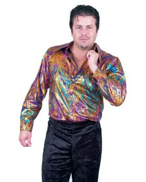 Multi Rainbow Mens Plus Disco Shirt