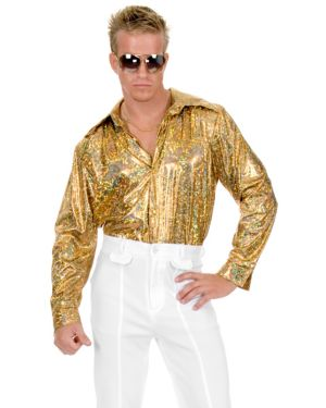 Gold Glitter Mens Plus Disco Shirt