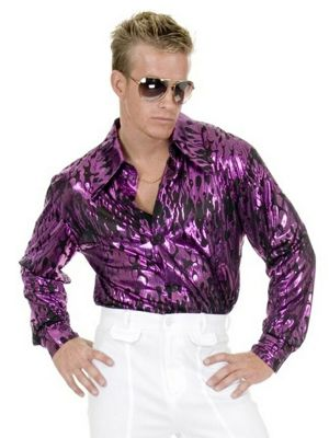 Purple Flame Mens Plus Disco Shirt