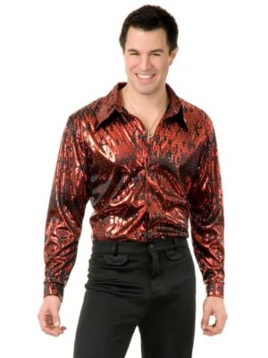 Red Flame Mens Plus Disco Shirt