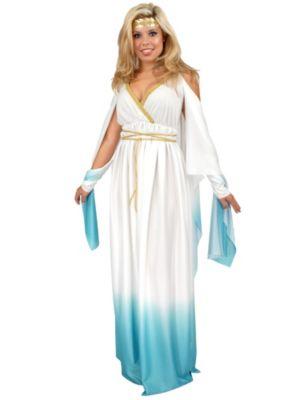 Adult White and Blue Greek Goddess Costume