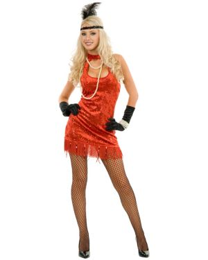 Sexy 20s Flapper Red Adult Costume