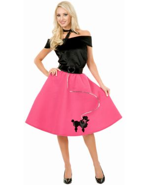 Black and Fuchsia Poodle Skirt and Top Adult Costume
