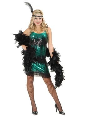 Black and Jade Sequin Flapper Womens Costume