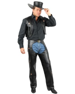 Halloween Costume Black Vest Men Black Chaps Vest Costume