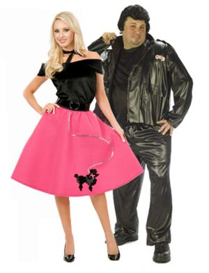 Plus Size Womens Poodle Skirt Couple Costume