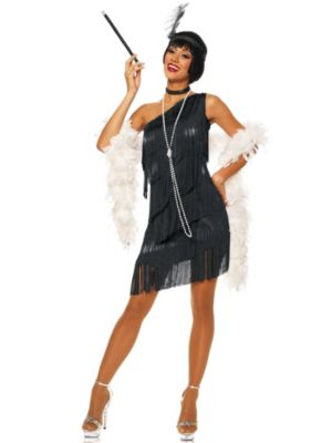 Sexy Adult Dazzling Flapper Black Costume