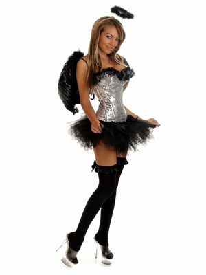 Adult Silver & Black Sequin Angel Costume
