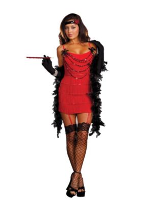 Adult Sexy Ruby Red Hot Flapper Costume