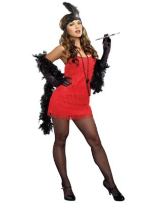 Sexy Adult Red Flapper Costume