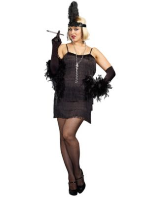 Sexy Adult Black Flapper Plus Size Costume