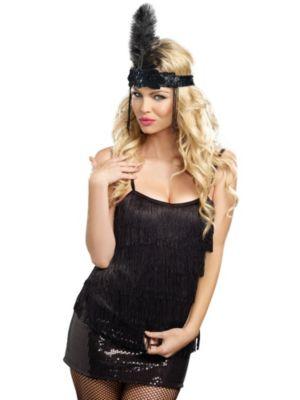 Sexy Adult Black Fringe Top Costume