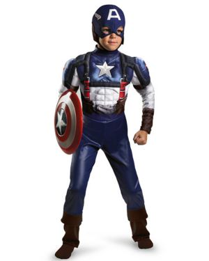 Child Classic Muscle Captain America Movie Costume