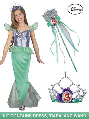Kids Standard Ariel Little Mermaid Complete Costume Kit - Large