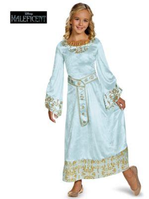 Child Maleficent Aurora Blue Dress Deluxe Costume