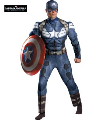 Adult Muscle Chest Captain America 2 Stealth Suit Costume