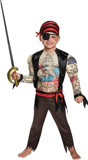 TODDLER MUSCLE CHEST PIRATE COSTUME